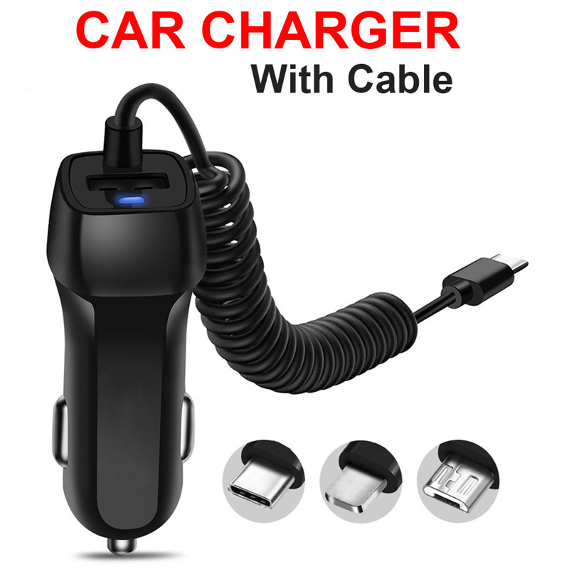 USB Charger with Type-c <font><b>Cabel</b></font> for Samsugn S8 S9 Plus Protable Car Charger For <font><b>iphone</b></font> X XS XS Max For <font><b>iphone</b></font> 7 8 Plus 6 <font><b>6S</b></font> 5 5S image