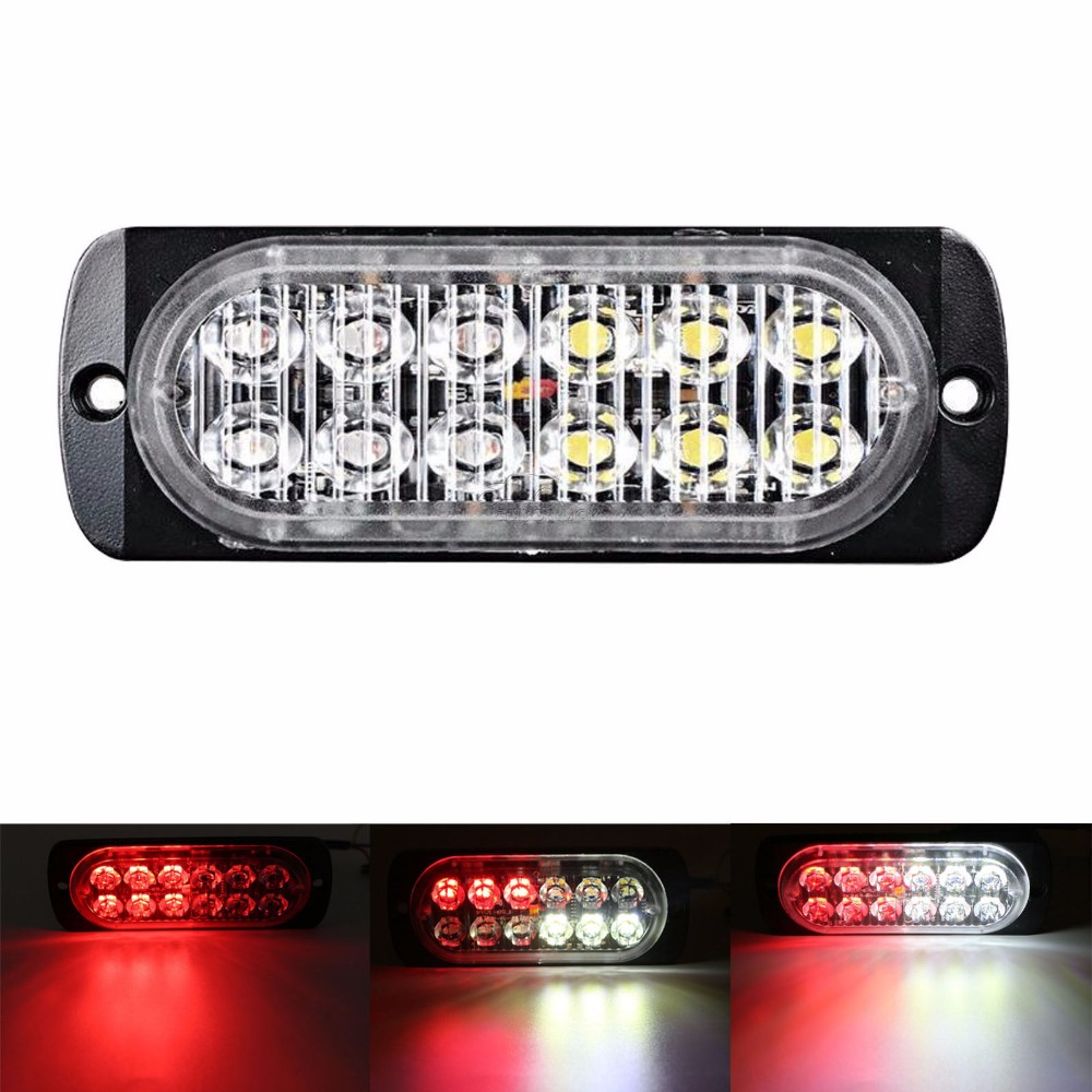 CYAN SOIL BAY 12 LED Car Emergency Hazard Warning Beacon Strobe Light Bar Grill RED White 36W 12V