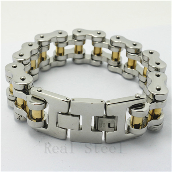 25cm 241g Huge&Heavy Men's Biker 18 Gold Silver Polishing Chain Cool Bicycle Bracelet 316L Stainless Steel Bangle Charm New Gift 22cm 17mm 316l stainless steel green yellow colors motor bangle jewelry huge heavy men motorcycle biker chain bracelet for boy