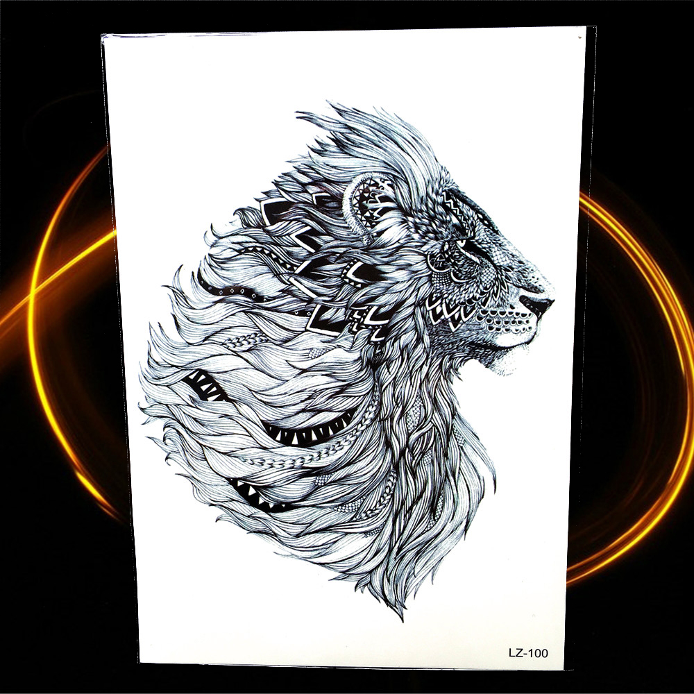 15 Magnificent Leo Tribal Tattoos: New Indian Tribal Lion Temporary Tattoo 21*15cm Waterproof