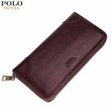 VIKUNJA POLO Solide Einfache Design Echtem Leder Brieftasche Marke Business Männer Brieftasche Hohe Kapazität Echt Leder Lange Brieftasche Neue