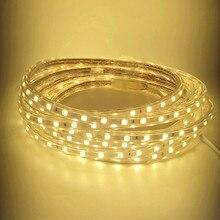 все цены на 5M 60LEDs/m 220V 5050 LED Strip IP67 Waterproof Flexible Strip Tape Include EU Plug White/Warm White/Red/Green/Blue онлайн