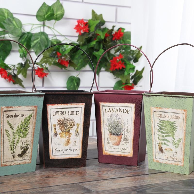 Pastoral Style Wrought iron Flower Pot Barrels Tin Bucket Succulents Planters Pots Hanging Home Garden Decoration