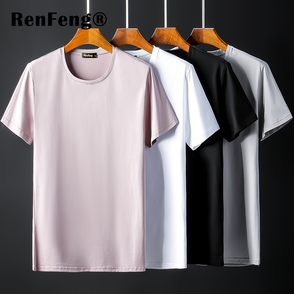 New Blank black Mercerized Cotton Short Sleeve Men\`s T-Shirt Underwear Round Collar Ice Silk Cool T-Shirt Slim Blusa Tops Summer (11)