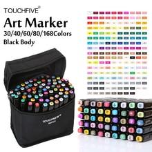 Touchfive Alcohol Gebaseerd Markers 30/40/60/80/168 Kleur Art Markers Set Goedkope Sketch Marker pen Voor Draw Manga Animatie Leveranciers