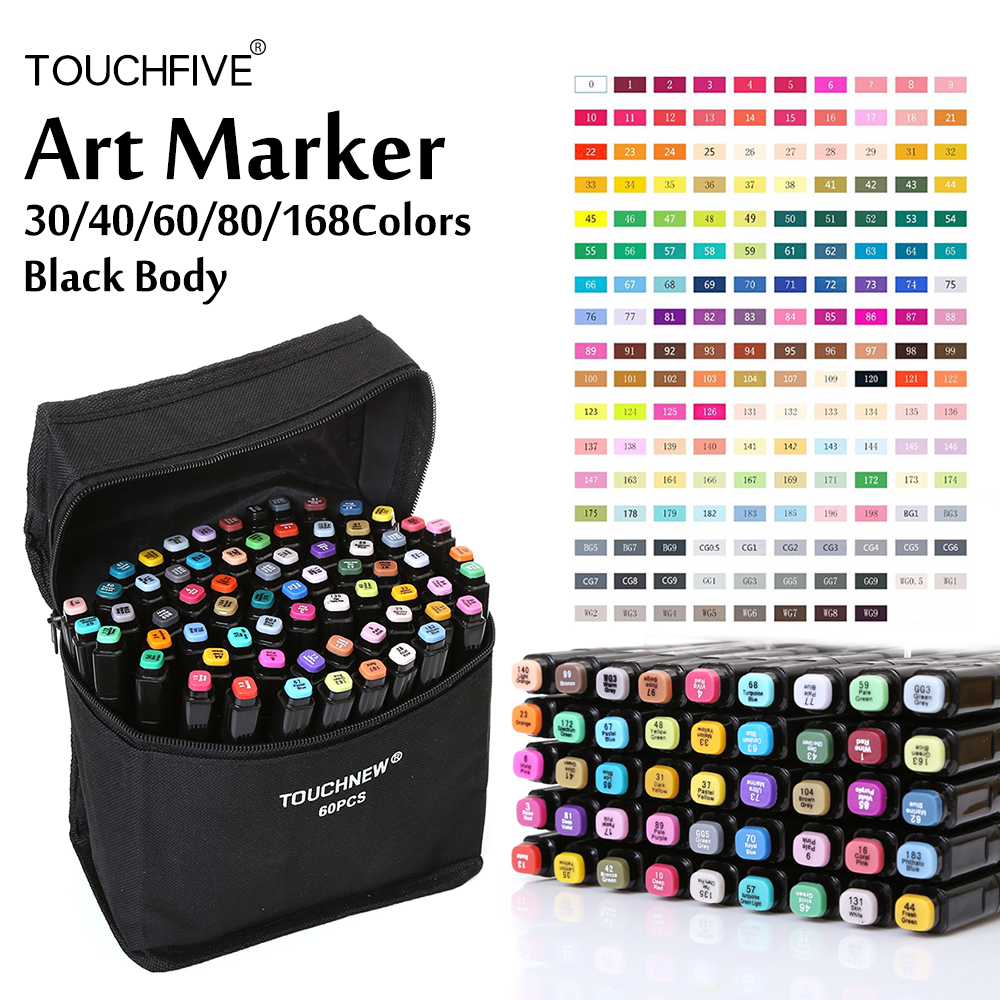 Touchfive Alcohol Based Markers 30/40/60/80/168 Color Art Markers Set Cheap Sketch Marker Pen For Draw Manga Animation Suppliers image
