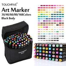 Touchfive rotuladores con base de Alcohol, Set de 30/40/60/80/168 colores, rotulador para bocetos, pluma para dibujo de Manga, proveedores de animación