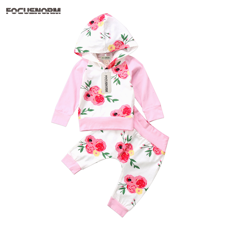 New Casual Toddler Baby Girl Clothes Floral Hooded T-Shirt Tops Long Pants Leggings Outfits Clothes Set