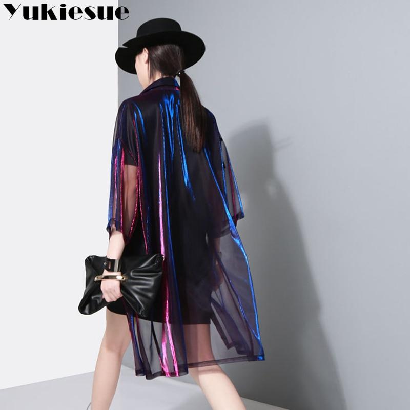 Abrigo transparente para mujer cuello de solapa láser manga tres cuartos  rompevientos largo 2018 Primavera Verano marea ropa de abrigo.