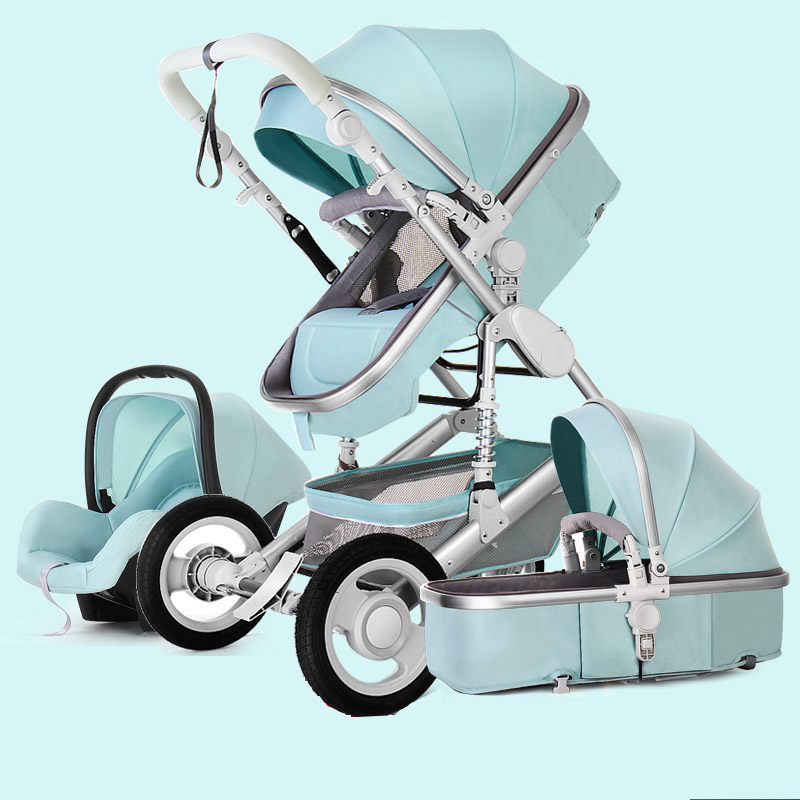 TJ Baby star Stroller 3 in 1,High landscape Fold stroller can sit reclining two-way four-wheel shock absorber folding