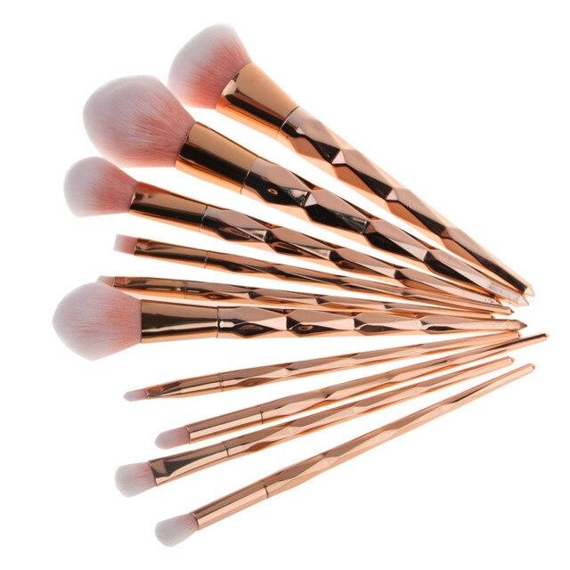 10 piezas hacer Fundación ceja delineador de ojos maquillaje cosmético corrector cepillos peine tarro de maquiagem de belleza maquillaje pinceles/brochas SetH30322