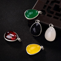 2018 Limited New Arrival Carnelian Accented 2018, S990, The Six Words Of silver Coin, lotus And jade Pendant.