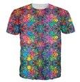 Flashbacks do Estilo verão T-Shirt colorido psicodélico impressão 3D t camisa do moderno hip hop t shirt Women/Men tees tops