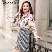 Delocah Осенняя юбка женские наборы для ухода за кожей взлетно посадочной полосы элегантный Роза цветочный принт шелковая блузк