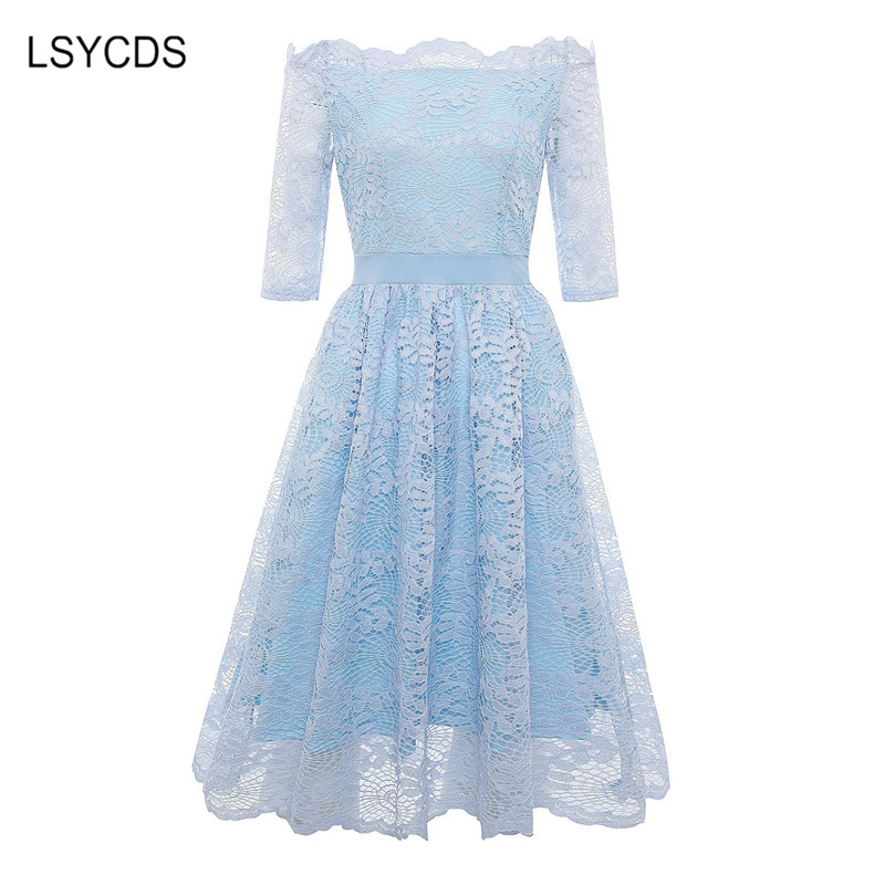 2018 Autumn Elegant Lace Dress Women Plus Size Slash Neck Half Sleeve Knee Length Blue Gray Casual Party Dresses for Women