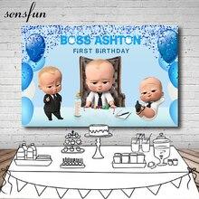 Sensfun Pouco Homens Patrão Balões Azul Tema da Festa de Aniversário Do Bebê Pano de Fundo Para Estúdio de Fotografia Fotografia Fundos 7x5FT Vinil