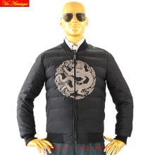 tiger force winter jacket herren parkas hombre down parkas winter jacket coat man warm light black with printed golden dragon 17