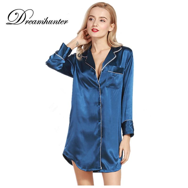 Women Nightwear Casual   Nightgown   Turn-down Collar Satin Sleepwear Button Pocket Nightdress Shirt 3/4 Sleeve Silk   Sleepshirts
