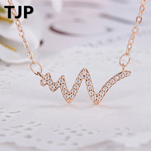 TJP Trendy 925 Sterling Silver Necklace Pendants Women Jewelry Animal shaped Clear Ctystal Snake Choker Necklaces Dropshipping