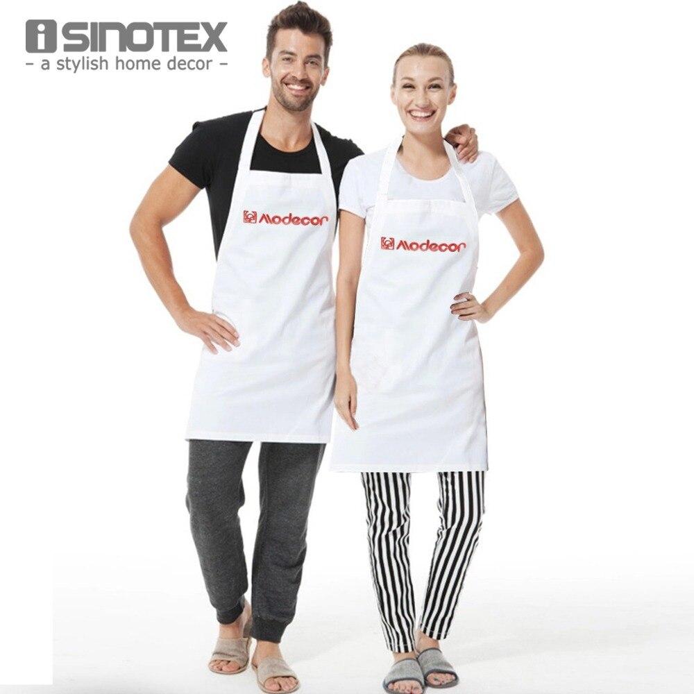 White apron cotton - 1pcs Lot Kitchen Apron 100 Cotton Red Embroidery Kitchen Sleeveless Apron Craft Commercial