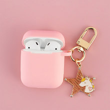 Super Cute Korean Unicorn Silicone Case for Apple Airpods Accessories Bluetooth Earphone Protective Cover Headset Box Key Ring(China)