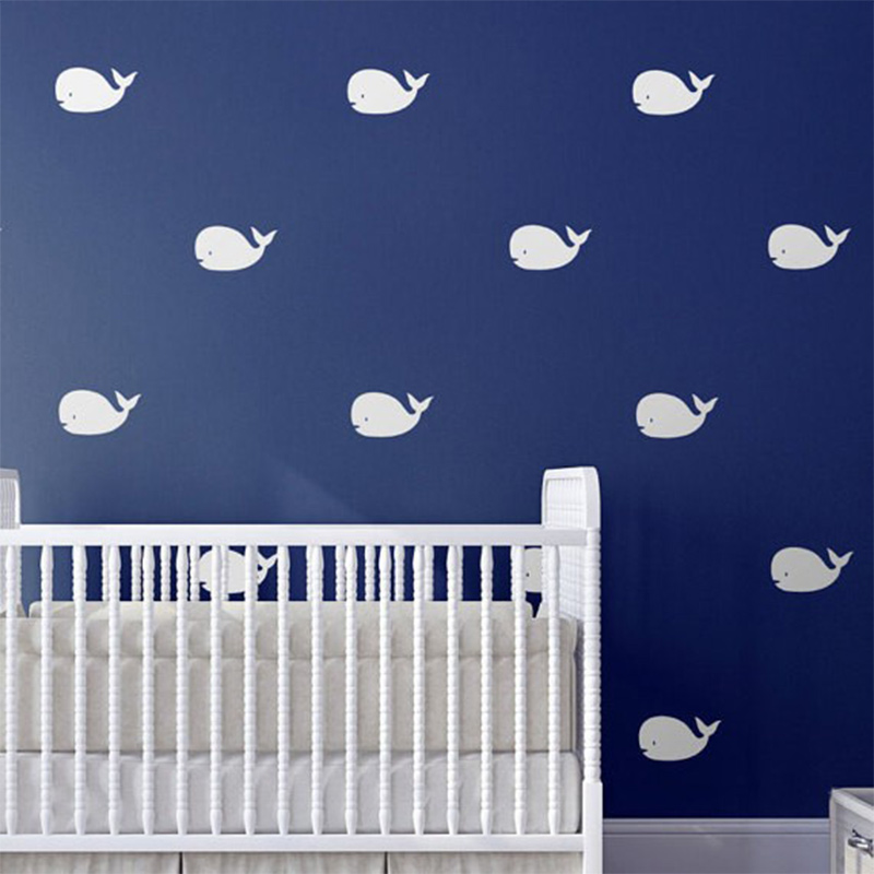 Us 12 13 18 Off Nautical Animals Cute Lovely Whale Patterned Art Wall Decal Baby Nursery Bedroom Special Decor Vinyl Removable Decals In