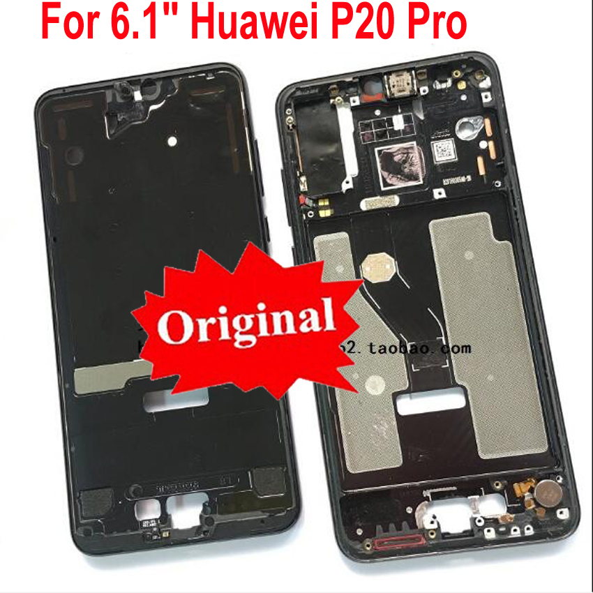 Original LCD Screen Supporting Housing Front Bezel / Middle Frame + Power Flex Cable Side Buttons For Huawei P20 Pro CLT-AL01
