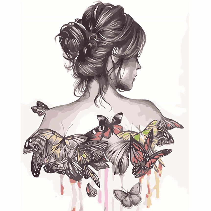 DIY цифровая картина с изображением девушки по номерам Холст Картина маслом на холсте для гостиной офиса домашний Декор подарок 8A10
