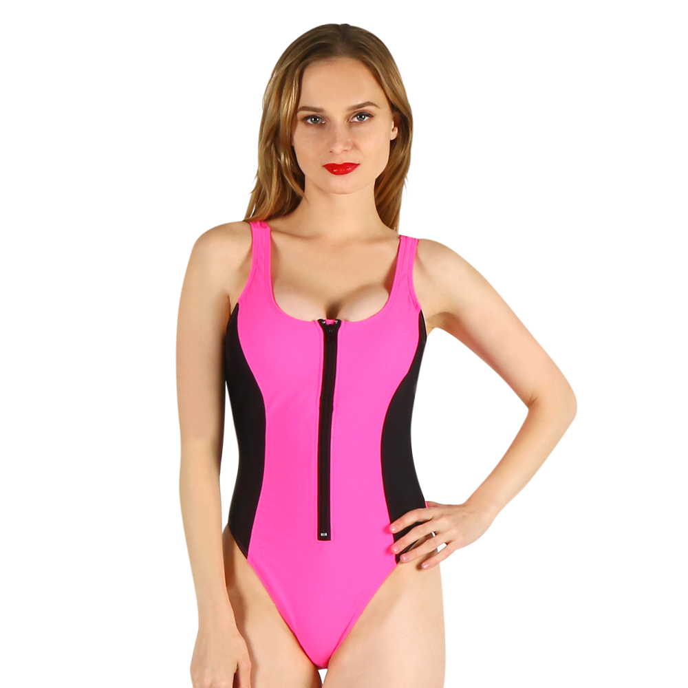 one-piece women swimwear sexy sling halter deep v solid color large size bathing swimsuit push up female sporty style pink sexy halter sleeveless color block women s one piece swimwear
