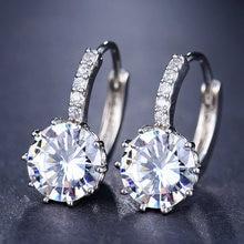 Серьги кольца lxoen с фианитами женские обручи кристаллами серебристого