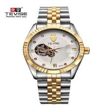 Top Brand TEVISE Tourbillon Mecánico Automático de Los Hombres Relojes de Lujo Gran Dial de Reloj Luminoso Reloj de Pulsera Relogio masculino
