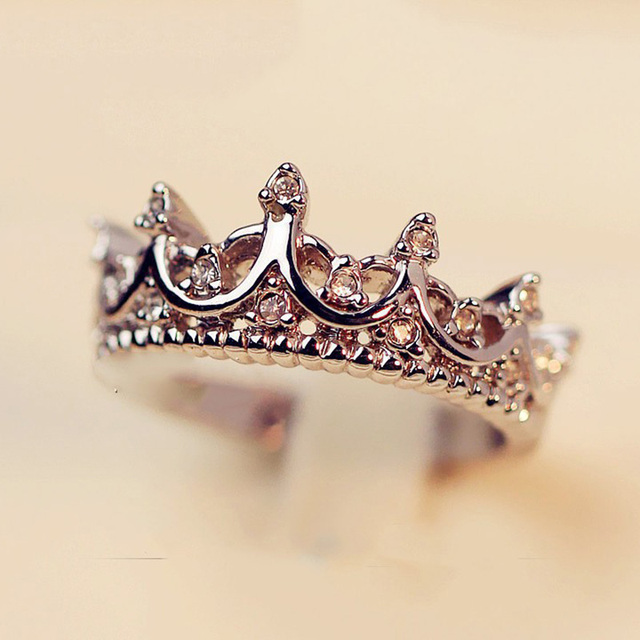 Crown Open Ring Rose Gold Princess Crown Rings For Party And Wedding