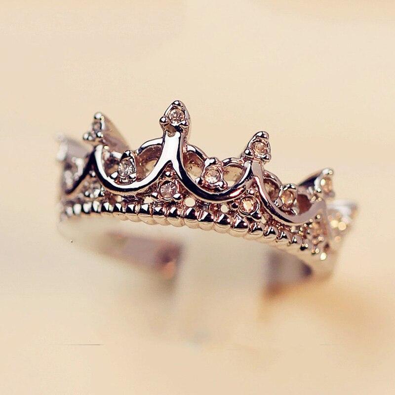 Beadia Корейский простой Стиль горный хрусталь корона Открытое кольцо из розового золота princess crown свадебные Кольца для Для женщин партии Сваде... ...