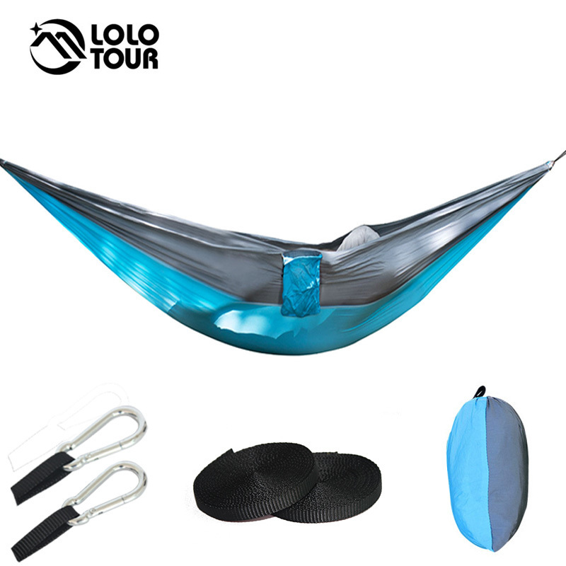 210T Nylon Camping Parachute Hammock 2 Person Large Hamac Swing Sleeping Bed Outdoor Survival Hanging Chair Hamak 270*140cm wholesale portable nylon parachute double hammock garden outdoor camping travel survival hammock sleeping bed for 2 person