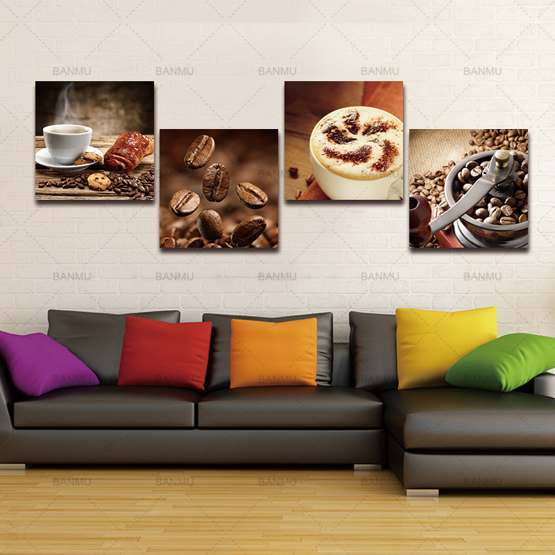 Home Decor Home & Garden Wall Art 3 Pieces Wall Art For Home Decor Flower Canvas Print Banmu Coffee Cup And Coffee Bean Canvas For Restaurant Rose