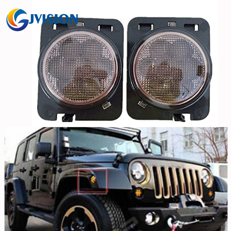 Pair LED Side Maker Lights Fender Flares For 2007-2015 Jeep Wrangler JK 4pcs black led front fender flares turn signal light car led side marker lamp for jeep wrangler jk 2007 2015 amber accessories