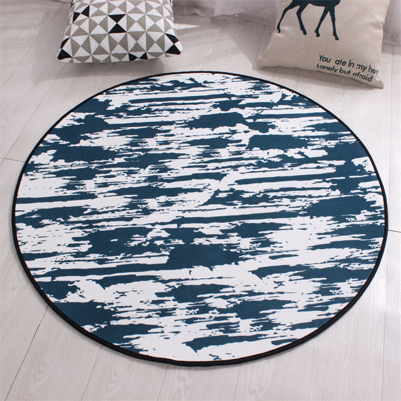 Round Abstract Carpet Flower Printed Soft Carpets Anti-slip Rugs Chair Mat Floor Mat for Home Kids Room Carpet for Living Room