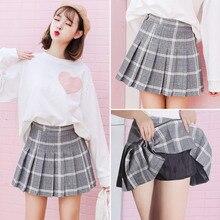 Клетчатая юбка-плиссе мини милые юбки консервативный стиль faldas Jupe Harajuku Kawaii женская школьная форма милые дамы Saia