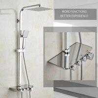 Современный простой ванная комната осадков Термостатический смеситель для душа набор хромированные смесители с ручной душевой квадратной