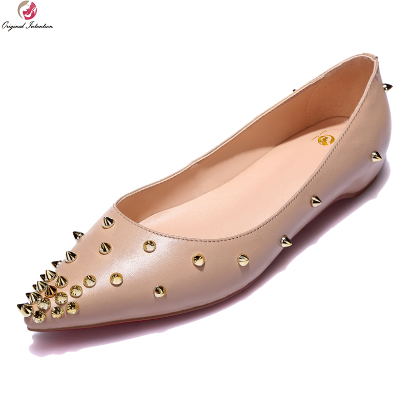 Original Intention Fashion Women Flats Nice Rivets Cow Leather Pointed Toe Flat Shoes Black White Nude