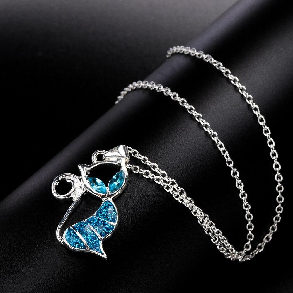 1pc Cute Cat Pendant Blue Opal Necklace Fashion 1