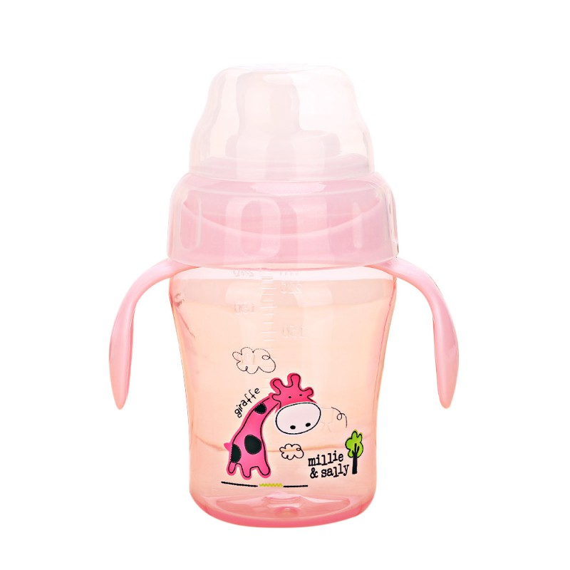 1PC 240ml Baby Kids Lovely Cup Toddler Infant Cartoon Deer Children Learn Drinking Straw Bottle With Handle Newborn Sippy Cup