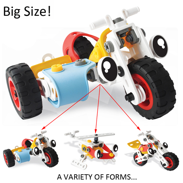 creative diy plastic building blocks changeable screw nut cars kids build up muff early education cartoon