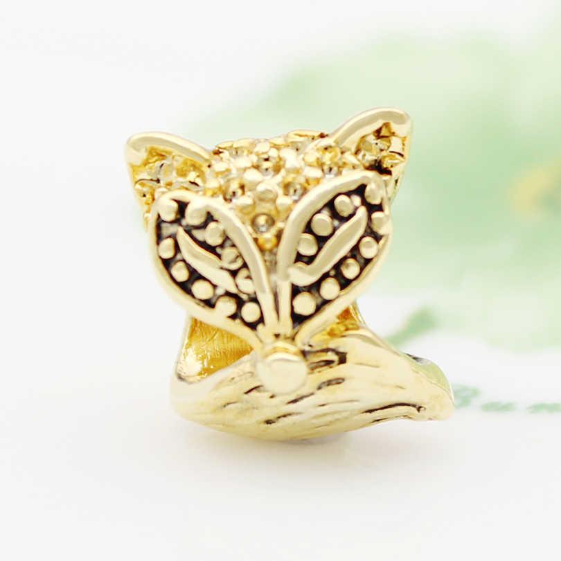 Darmowa wysyłka europejski styl złoty big hole urok lisa DIY biżuteria amulet koraliki charm w stylu fit Pandora bransoletka naszyjnik