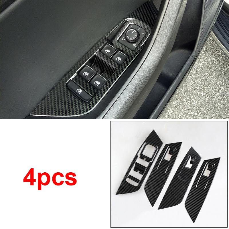 4pcs for SKODA KODIAQ Window glass Switch panel Decoration frame Carbon fiber pattern Stainless steel in Interior Mouldings from Automobiles Motorcycles