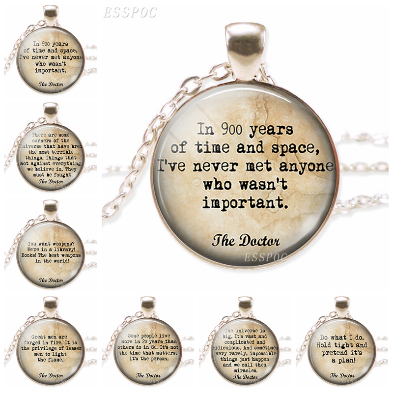 Doctor Who Quote Necklace Silver Plated Dr Who Quote Glass Dome Pendant Jewelry Gallifreyan Time Lord Necklace for Women