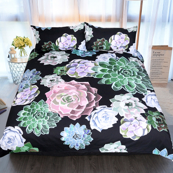 Home Textiles New Succulent Plants Print Bedding Sets Contain Sheet Pillowcase Hot Sale Comforter Bed Set Queen full size 3  pcs