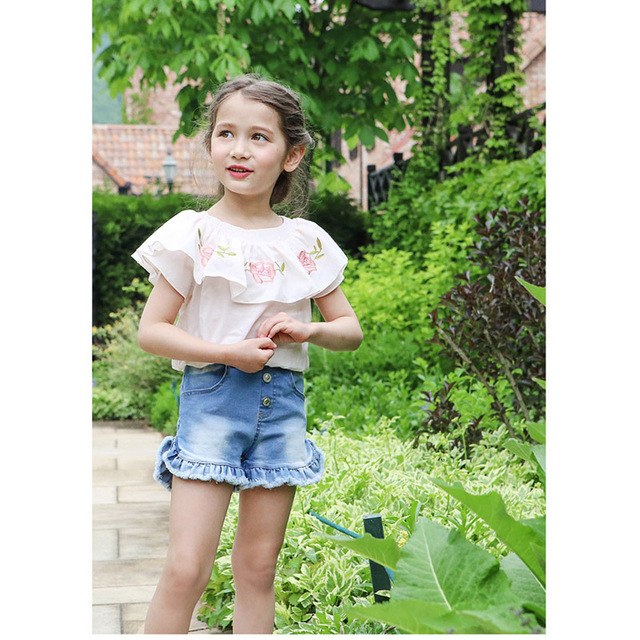 5ed85fa8f3e Jeans Shorts for girl Summer Style Denim princess Panties New Jeans Shorts  for Children Holes Straight kids Shorts 3-10y