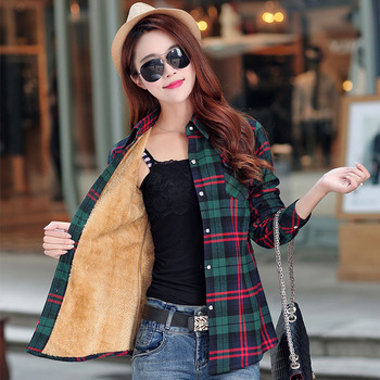 2019 Brand New Winter Warm Women Velvet Thicker Jacket Plaid Shirt Style Coat Female College Style Casual Jacket Outerwear 1