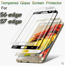 6 colors 9H 0.2mm 3D Curved Surface Screen Protectors Explosion-proof full cover Tempered Glass Film for Samsung Galaxy S7 edge